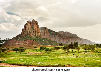 Landscape shot in Tigray province, Ethiopia, Africa