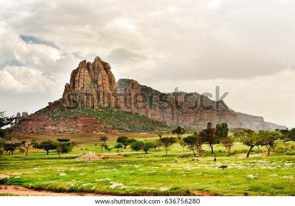 Tournage de paysage dans la province de Tigray, Éthiopie, Afrique