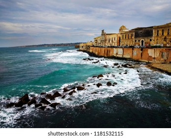 Landscape of Siracusa, Sicily, Italy.  Stormy day in Siracusa.