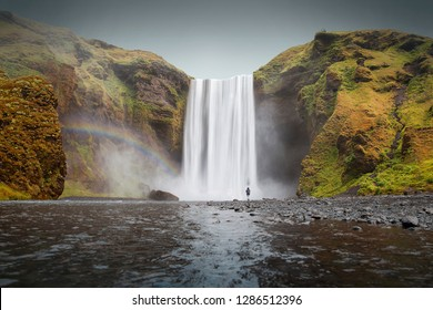 landscape of the skogafoss waterfall in iceland