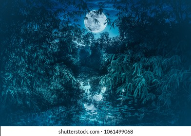 Landscape of sky with full moon over serenity nature in forest. Tranquil river and bamboo trees at national park. Outdoors at nighttime, cold tone. The moon taken with my camera.