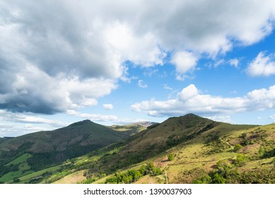 Landscape with sky and mountains of the Basque country of France.