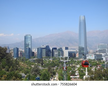 Landscape and skycrapers in Santiago, Chile