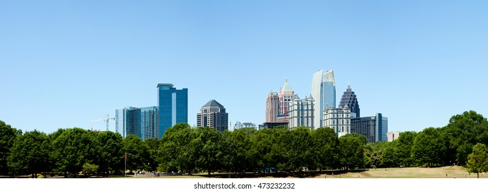 Landscape Skyline Piedmont Park in Atlanta, Georgia, USA