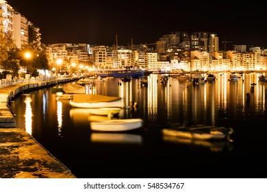 Landscape of Sliema at night, Malta.