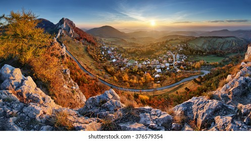 Landscape of Slovakia autumn panorama at sunrise