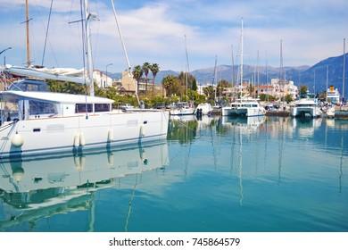 landscape of a small harbor Kalamata Peloponnese Greece