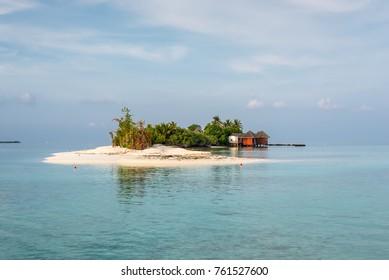 Landscape with a small island in the Maldives, Indian Ocean, Kaafu Atoll, Kuda Huraa Island