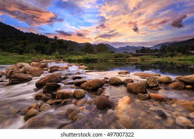 Landscape of small river and beautiful sunset in Kiriwong village, Lan Saka district. The best ozone location in Thailand