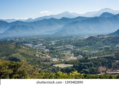 landscape of small town with mountain at Puli, Nantou, Taiwan