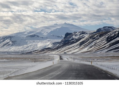 Landscape in Snaefellsnes peninsula West of Iceland in winter