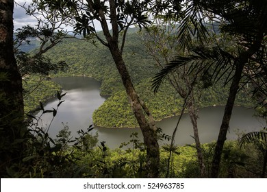 Landscape with a Snaking River in the Lush Green Jungles of Belize in Central America