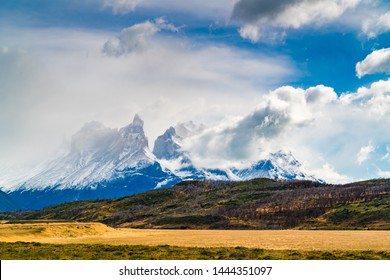 Landscape with snow capped Cuernos Del Paine mountain at Torres del Paine National Park in Southern Chilean Patagonia, Chile
