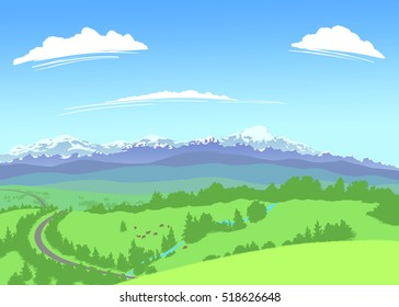 A landscape with snow capped mountains on the horizon and green foothills in the foreground.