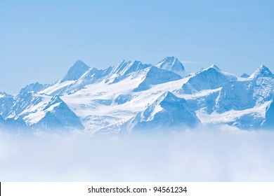 Landscape of Snow Mountain with Blue Sky from Pilatus Peaks Alps Lucern Switzerland