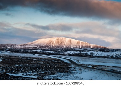 Landscape with snow on north Iceland, winter