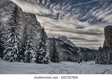 Landscape, snowy forest in the Gardena valley with mountains, sky and clouds at the horizon - Dolomiti, Italy