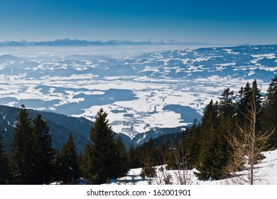 Landscape of snowy mountains in winter.Koralpe,Austria.