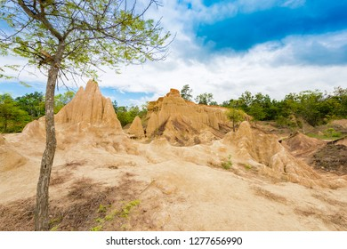 "landscape of soil textures eroded sandstone pillars, columns and cliffs, natural erosion of water and wind, ""Sao Din Na Noi""or ""Hom Chom"" and ""Khok Suea"" at sri nan national park in Nan Province"