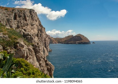 landscape of sorrento's peninsula and gulf, from Punta Campanella,  Naples, Italy