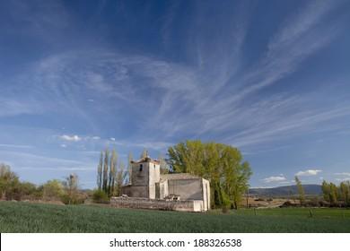 Landscape with Sotillo Church, Segovia, Castilla and Leon, Spain. It is a romanic church built in the XIII Century. Sotillo Romanic Church
