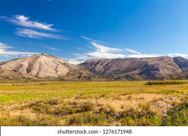 Landscape of South Albania hills and mountains in autumn time in sunny day. Vlora district, not far from Saranda. Albanian Balkan landscape.