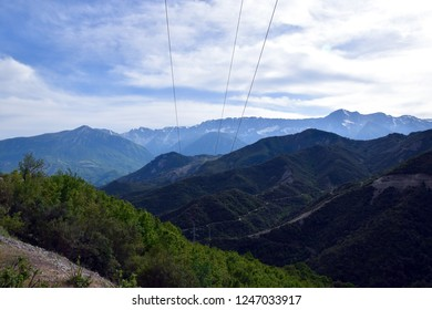 Landscape of southern Albanian mountains (Albanian Alps). Electric Poles.