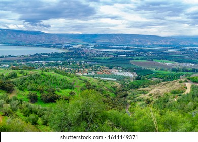 Landscape of the southern part of the Sea of Galilee, and the Jordan river valley, on a winter day. Northern Israel