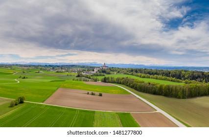 Landscape in spring at Erling - Kloster Andechs, Fünf-Seen-Land, Upper Bavaria, Bavaria, Germany, Europe