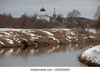 landscape -  spring  river and church