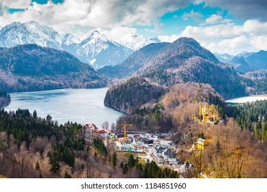 Landscape spring view from between alpine mountains