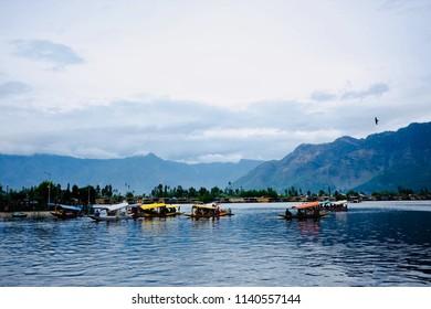 Landscape of the Srinagar Dal lake in India