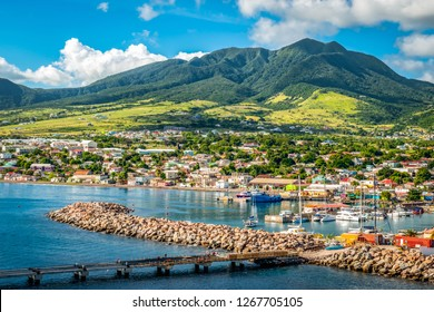 Landscape of St Kitts Island, Leeward Islands. View from cruise port Zante, Basseterre.