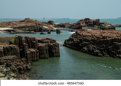 landscape of st. Mary's island in mangalore, indai with basaltic columnar geological texture