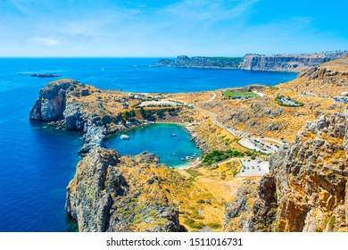 Landscape of St. Paul's bay - most famous heart shaped lagoon near Lindos town, Rhodes, Greece