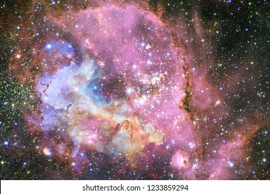 Landscape of star clusters. Beautiful image of space. Cosmos art. Elements of this image furnished by NASA.