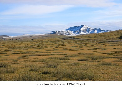 Landscape of the steppe and mountains in Mongolia