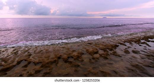 Landscape of Steps Beach near Rincon in Puerto Rico