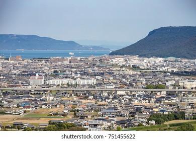 Landscape of a suburb in takamatsu city,shikoku,japan