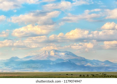 Landscape of the Sultan Reedy National Par (Turkish: Sultan Sazligi Milli Parki ve Erciyes Dagi ) and view of the Mount Erciyes, Yesilhisar, Develi and Yahyali districts of Kayseri Province in Turkey.