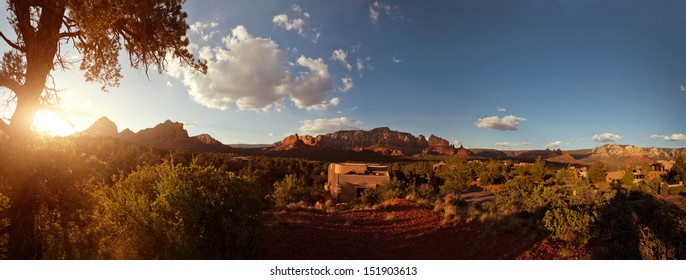 Landscape with sunlight in the red rock mountains in Sedona, Arizona in the American southwest