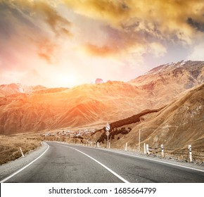 Landscape with sunny views of military road in Georgia