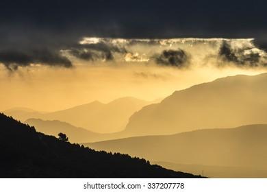 Landscape at sunrise.