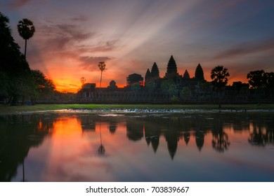 Landscape and sunrise of Angkor wat temple in Siem reap in Combodia, Asia, Unesca, Travel and Landmark concept