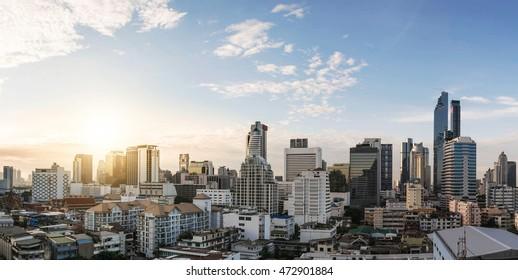 Landscape sunrise business zone in Bangkok the capital city of Thailand