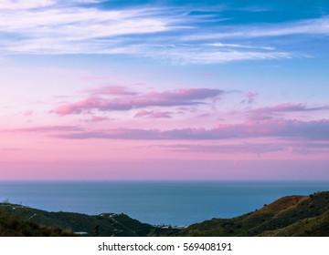 Landscape Sunrise in Malaga, Spain