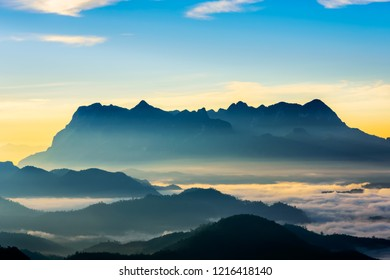 Landscape of sunrise on Mountain at Doi Luang Chiang Dao, ChiangMai ,Thailand