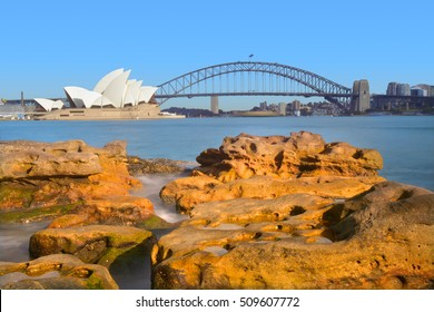 Landscape of sunrise over the Sydney Harbor in Sydney New South Wales, Australia