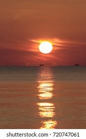 Landscape sunrise or sunset at the Songkhla Sea