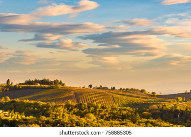 landscape at sunset in autumn. Chianti wine region, Italy.
